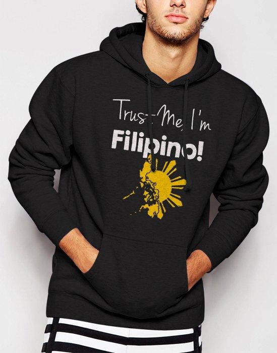 New Rare Trust Me I'm Filipino Men Black Hoodie Sweater