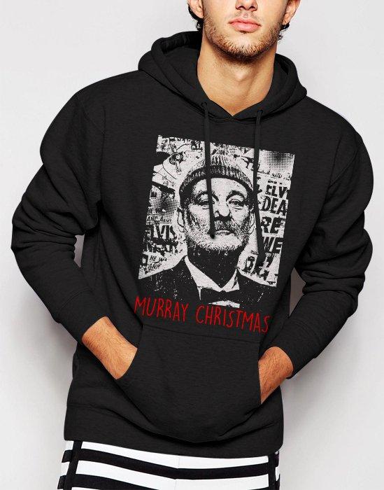 New Rare Bill Murray Christmas Funny Men Black Hoodie Sweater