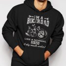 New Rare I'm A Biker Dad Funny Motorbike Men Black Hoodie Sweater