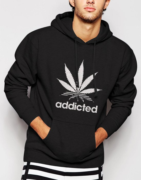 New Rare Addicted Cannabis Funky Cool Swag Men Black Hoodie Sweater