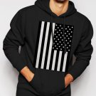 New Rare American Flag Black and White Men Black Hoodie Sweater