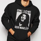 New Rare Bob Marley One Love 70s Classic Reggae Men Black Hoodie Sweater