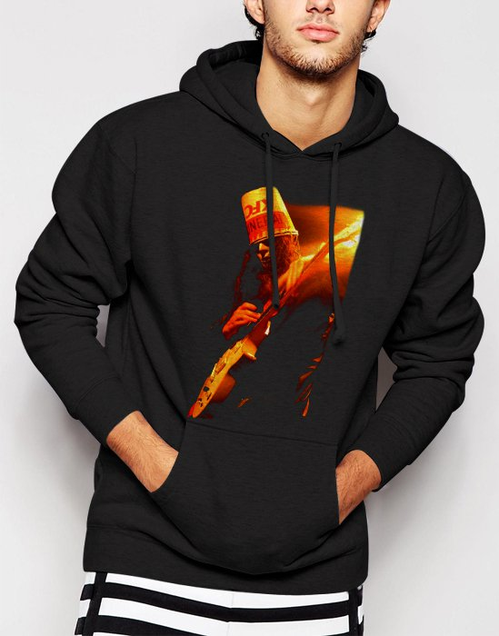 New Rare buckethead Rock and roll Men Black Hoodie Sweater