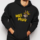 New Rare Hee Haw Cartoon Men Black Hoodie Sweater