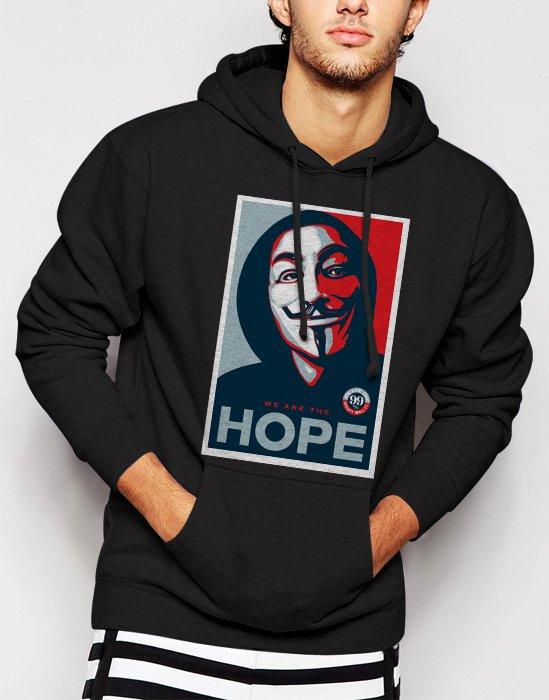 New Rare v for vendetta face hope Men Black Hoodie Sweater