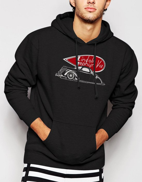 New Rare 1937 Lincoln Zephyr Men Black Hoodie Sweater