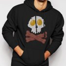 New Rare Bacon & Eggs Skull & Crossbones funny - Bacon Strips Men Black Hoodie Sweater
