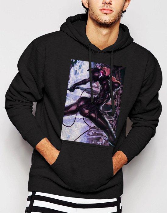New Rare Cat Woman Men Black Hoodie Sweater