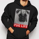 New Rare Dog Pug Life Slogan Men Black Hoodie Sweater