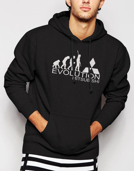New Rare Evolution of man EVOLUTION-MITSUBISHI Men Black Hoodie Sweater