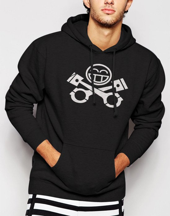 New Rare JDM RACING CAR Piston Smiley face Men Black Hoodie Sweater