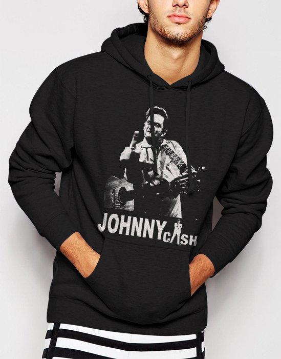 New Rare Johnny Cash Men Black Hoodie Sweater
