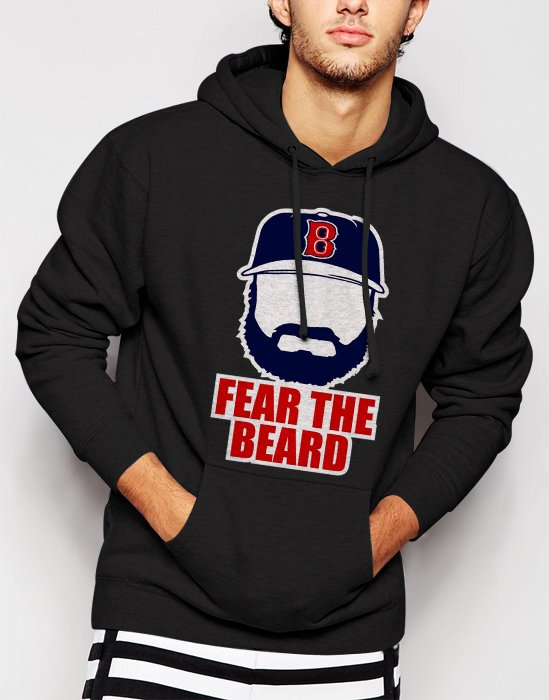 New Rare Johnny Gomes Boston Red Sox FEAR THE BEARD Men Black Hoodie Sweater
