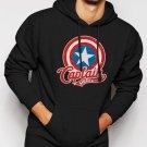 New Rare Marvel Captain America Men Black Hoodie Sweater