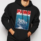 New Rare PAWS PARODY Funny Hilarious kitten Men Black Hoodie Sweater