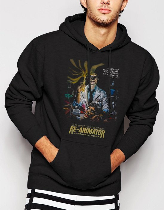 New Rare Re-Animator - Men Black Hoodie Sweater