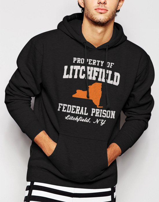 Property Of Litchfield Federal Prison NY Men Black Hoodie