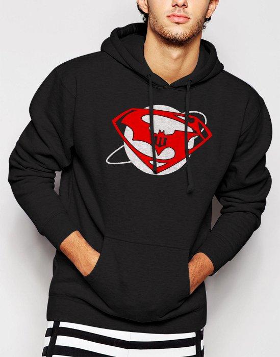 SUPERMAN vs BATMAN Inspired Down of justice Men Black Hoodie