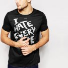 New Hot I Hate Everyone Tumbrl Hipster Geek Black T-Shirt for Men