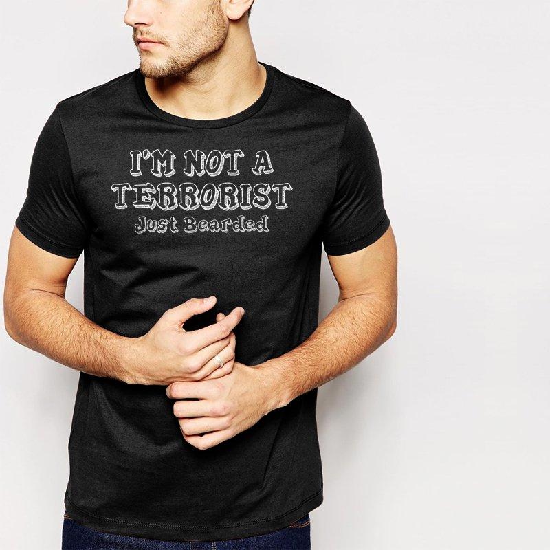 New Hot I'M NOT A TERRORIST JUST BEARDED beard moustache Black T-Shirt for Men