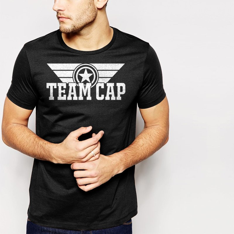 New Hot Team Cap Captain America Civil War Black T-Shirt for Men