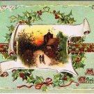 Christmas Postcard Church Scroll Tuck Christmas Snows 503 Embossed VINTAGE