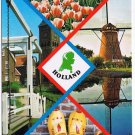 Netherlands Postcard Holland Multi View Tulips Windmill Wooden Shoes Clocktower