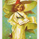 Patriotic Postcard Lil Lady Liberty Singing My Country Tis of Thee