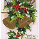 Christmas Postcard Holly Bells Horseshoes Large Three Ring Cancel