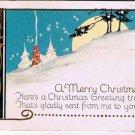 Christmas Postcard Poinsetta Moon