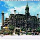 Quebec Laminated Postcard RPPC Montreal Hotel de Ville City Hall Nelson's Column