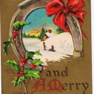 Christmas Postcard Robbins Good Luck Children Horseshoe