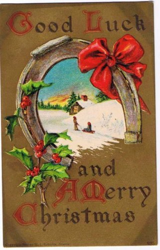 Christmas Postcard Robbins Good Luck Children Horseshoe