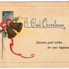 Christmas Card Bells Ribbon A Glad Christmas Plain Back