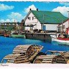 Quebec Laminated Postcard RPPC Perce en Gasperie Boats Lobster Traps