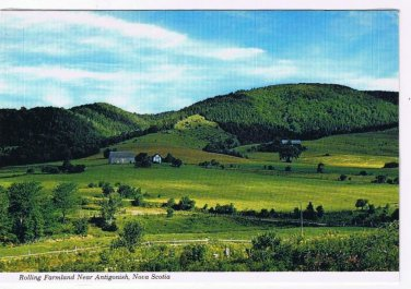 Nova Scotia Laminated Postcard RPPC Antigonish Rolling Farmland