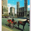 Quebec Laminated Postcard RPPC Notre Dame Church Horse & Buggy