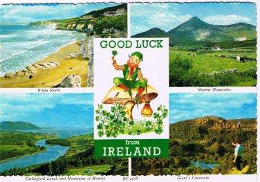 Ireland UK Postcard Good Luck Mountains of Mourne Giant's Causeway White Rocks
