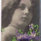 Henry Traut Edwardian Lady Embossed Flowers Postcard