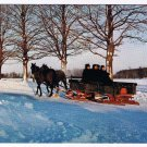 Ontario Laminated Postcard RPPC Mennonite Family On Sled Winter Kitchener