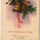 Christmas Postcard Golden Bells Pine Cones Ribbon Good Cheer VINTAGE Made in USA
