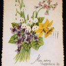 VINTAGE Floral Bouquet Easter Scalloped Edge Postcard