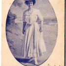 VINTAGE Postcard Lady With Hat On Beach Blue Toned