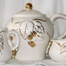 WADE Golden Ivory Tea Set Teapot Creamer Sugar Bramble Ware England