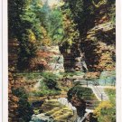 Watkins Glen New York Postcard Matchless Triple Cascades Curteich R-91746 1922