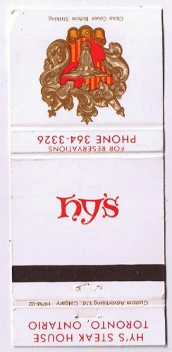 Toronto Ontario Matchbook Cover Royal Hy's Steak House