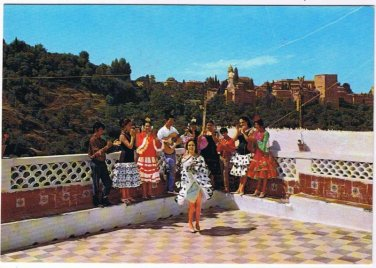 Spain Postcard Granada Gipsy Dance Alhambra in Background