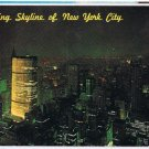 New York Postcard NYC Night Chrysler Pan-Am Empire State Buildings