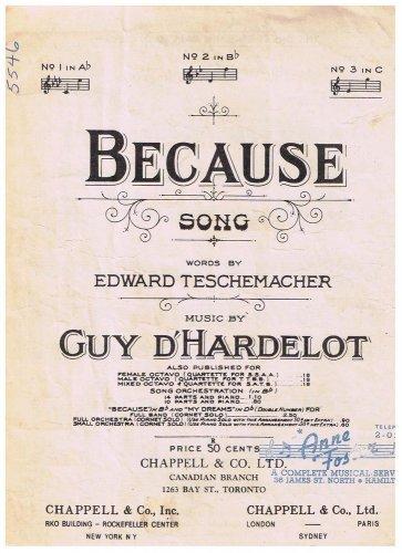 Because Sheet Music Edward Teschemacher Guy d'Hardelot