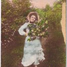 Ontario RPPC Postcard Hand Tinted Girl With Bonnet & Flowers